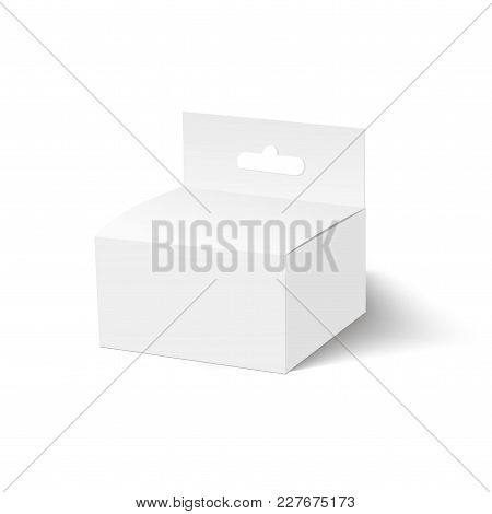 Blank Of Box With Plastic Window And Hang Slot. Vector.