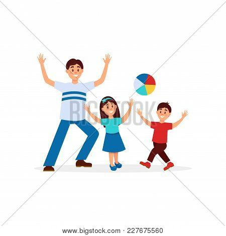 Young Father Playing In Ball With His Children. Dad, Daughter And Son. Family Recreation. Outdoor Ac