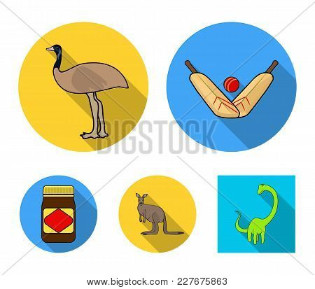 A Game Of Cricket, An Emu Ostrich, A Kangaroo, A Popular Food.australia Set Collection Icons In Flat