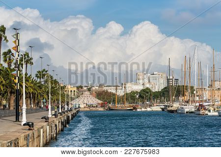 Barcelona, Spain - December 5, 2016: View Of The Port Vell, A Part Of The Waterfront Harbor In Barce