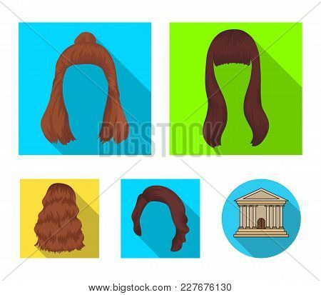Long, Red And Other Types Of Hairstyles. Back Hairstyle Set Collection Icons In Flat Style Vector Sy