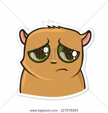 Sticker For Messenger With Funny Animal. Sad Hamster. Vector Illustration, Isolated On White Backgro