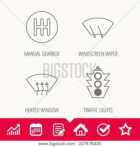 Traffic Lights, Manual Gearbox And Wiper Icons. Heated Window, Manual Transmission Linear Signs. Was