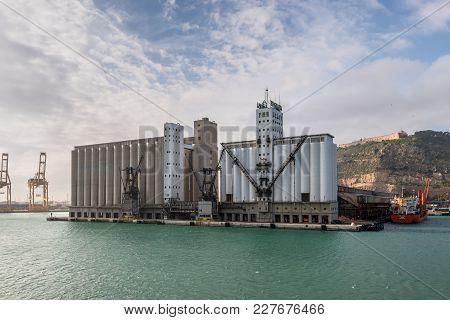 Barcelona, Spain - December 5, 2016: View Of The Ergransa Grain Silos In Barcelona, Spain. Many Conc
