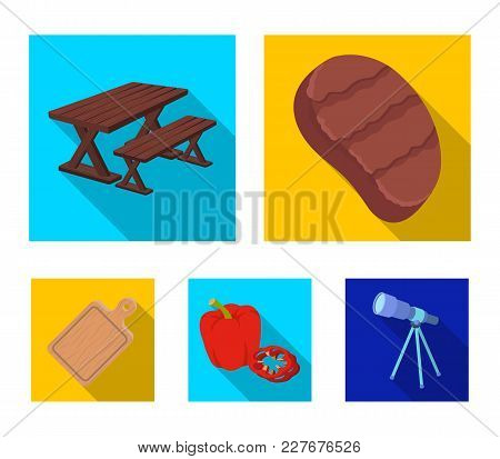 Fried Steak, Table With A Bench For Relaxation, Sweet Pepper, Cutting Board.bbq Set Collection Icons