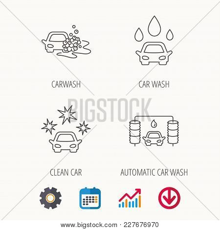 Car Wash Icons. Automatic Cleaning Station Linear Signs. Clean Car, Automatic Carwash Flat Line Icon
