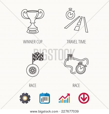 Winner Cup, Race Timer And Flag Icons. Travel Time Linear Sign. Calendar, Graph Chart And Cogwheel S