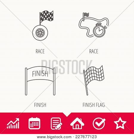 Finish Flag, Race Timer And Wheel Icons. Race Track Linear Sign. Edit Document, Calendar And Graph C