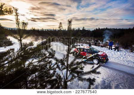 HAGFORS, SWEDEN - 02-11-2017:  Craig Breen with his Citroen C4 WRC car during the event Rally Sweden 2017