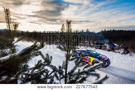 HAGFORS, SWEDEN - 02-11-2017:  Sebastien Ogier with his  Ford fiesta WRC car during the event Rally Sweden 2017