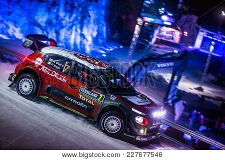 TORSBY, SWEDEN - 02-10-2017: Kris Meeke with his  Citroen WRC car during the event Rally Sweden 2017