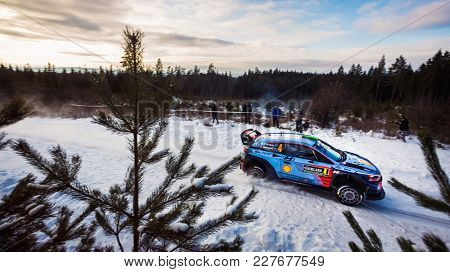 HAGFORS, SWEDEN - 02-11-2017:  Hayden Paddon with his Hyundai WRC car during the event Rally Sweden 2017