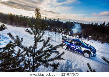 HAGFORS, SWEDEN - 02-11-2017: Ott Tanak with his Ford WRC car during the event Rally Sweden 2017