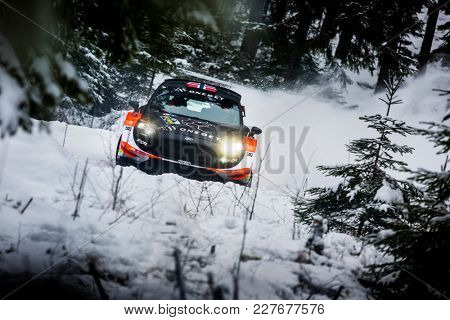 VARGASSEN, SWEDEN - 02-11-2017:  Mats Ostberg with his Ford WRC car during the event Rally Sweden 2017