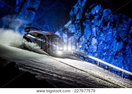 TORSBY, SWEDEN - 02-10-2017: Dani Sordo with his Hyundai WRC car during the event Rally Sweden 2017