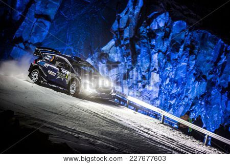 TORSBY, SWEDEN - 02-10-2017: Ott Tanak with his  Ford WRC car during the event Rally Sweden 2017