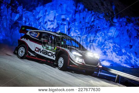 TORSBY, SWEDEN - 02-10-2017: Elfyn Evans with his Ford WRC car during the event Rally Sweden 2017
