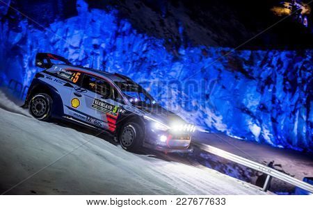 TORSBY, SWEDEN - 02-10-2017: Thierry Neuville with his Hyundai i20 WRC car during the event Rally Sweden 2017