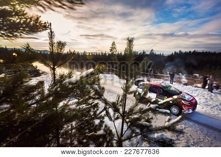 HAGFORS, SWEDEN - 02-11-2017:  Stephane Lefebvre with his  Citroen WRC car during the event Rally Sweden 2017