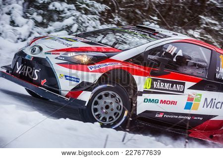 VARGASSEN, SWEDEN - 02-11-2017:  Jari-Matti Latvala with his  Toyota Yaris WRC car during the event Rally Sweden 2017