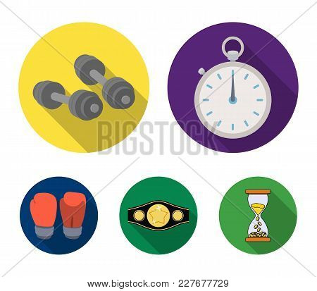Boxing, Sport, Stopwatch, Watch .boxing Set Collection Icons In Flat Style Vector Symbol Stock Illus