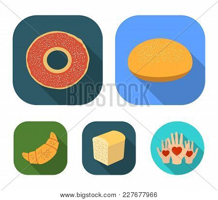 Half A Loaf, Round Wheat, A Croissant, A Bagel.bread Set Collection Icons In Flat Style Vector Symbo
