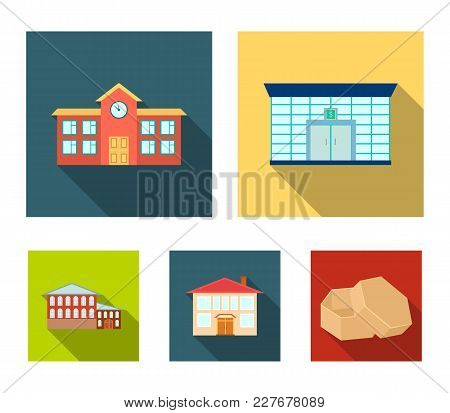 Residential Building, Bank, School, Hotel.building Set Collection Icons In Flat Style Vector Symbol