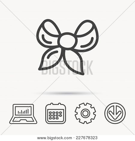 Gift Bow Icon. Present Decoration Sign. Ribbon For Packaging Symbol. Notebook, Calendar And Cogwheel