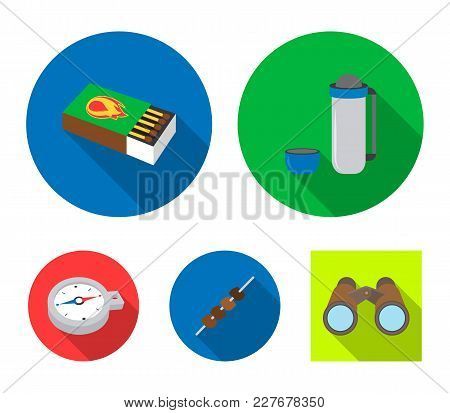 Thermos, Matches, Compass, Shish Kebab.camping Set Collection Icons In Flat Style Vector Symbol Stoc