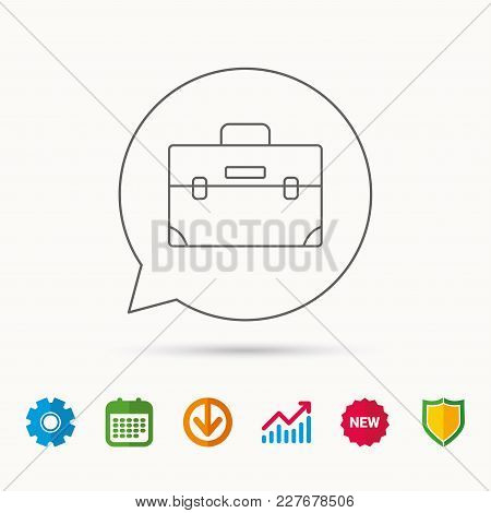 Briefcase Icon. Businessman Case Or Diplomat Sign. Hand Baggage Symbol. Calendar, Graph Chart And Co