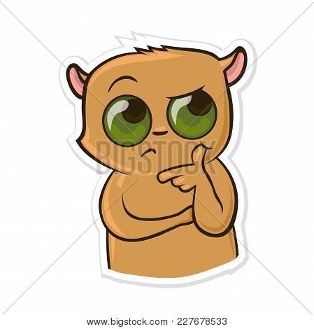 Sticker For Messenger With Funny Animal. Puzzed Hamster. Vector Illustration, Isolated On White Back