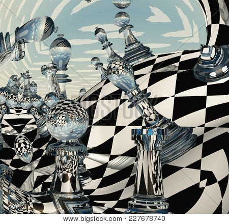 Surreal Chess Landscape. 3D rendering.