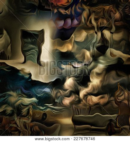 Complex abstract painting. Open door to another world. Hourglass. Bed and violin. 3D rendering