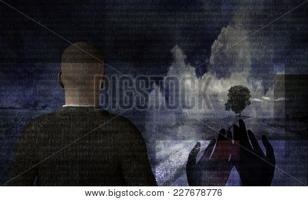 Surreal composition. Latin text and praying hands. Man in suit stands in countryside. Modern style. 3D Rendering