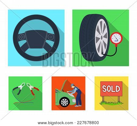 Engine Adjustment, Steering Wheel, Clamp And Wheel Flat Icons In Set Collection For Design.car Maint