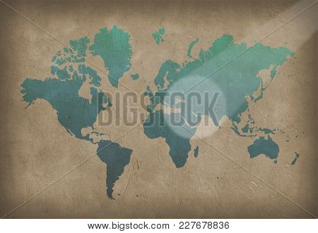 World map. Painting in blue color on the wall. 3D rendering