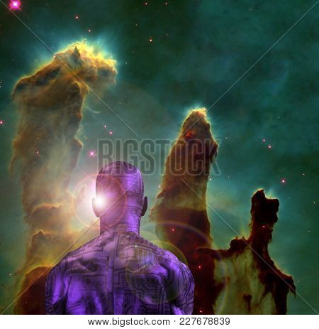 Surreal digital art. Naked man with electric circuit pattern on his skin stands before horse nebula in deep space. 3D rendering