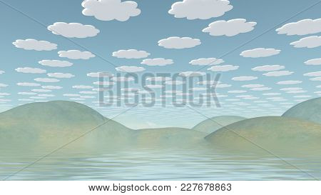 Spookily serene landscape. Cartoonish clouds in the sky. 3D rendering