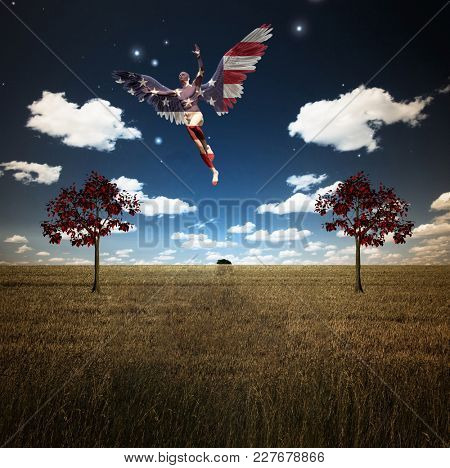 Surrealism. Naked man with wings in US national colors flies above field of wheat with red trees. 3D rendering