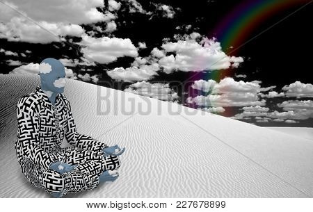 Surrealism. Figure of man in suit with maze pattern sits  in lotus pose in white desert. 3D rendering