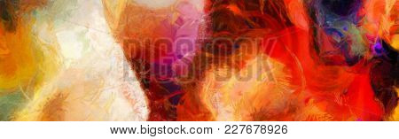 Vivid Abstract Painting. Wide brush strokes on canvas. 3D rendering