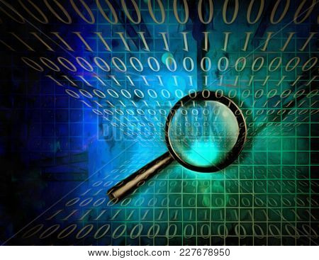 Surreal digital art. Magnifier on a binary code background. 3D rendering