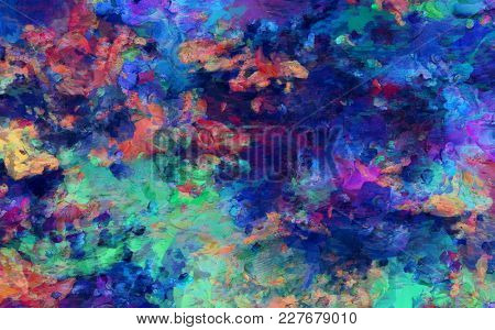 Colorful abstract painting. Brush strokes oil on canvas. 3D rendering