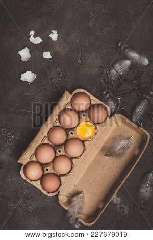 Top View Of Chicken Eggs And One Broken Egg With Yolk In Cardboard Tray With Feathers And Branches O