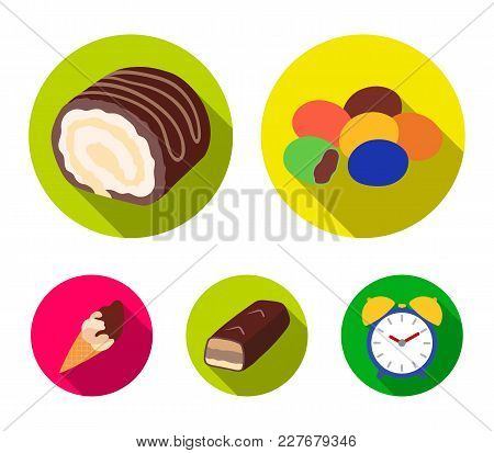 Dragee, Roll, Chocolate Bar, Ice Cream. Chocolate Desserts Set Collection Icons In Flat Style Vector