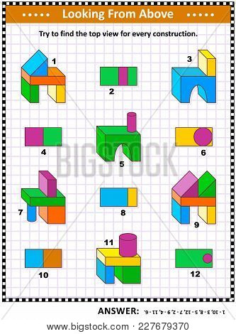 Find Top View Visual Math Puzzle With Buiding Blocks