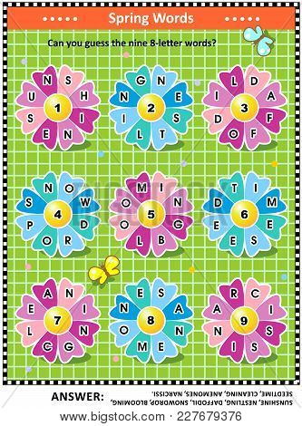Spring Or Summer Themed Word Puzzle (english Language) With Words Written On Petals Around The Flowe