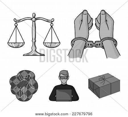 Handcuffs, Scales Of Justice, Hacker, Crime Scene.crime Set Collection Icons In Monochrome Style Vec