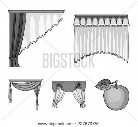 Different Types Of Window Curtains.curtains Set Collection Icons In Monochrome Style Vector Symbol S