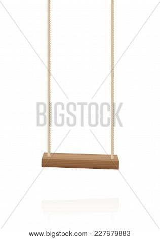 Swing. Simple Wooden Playground Toy, A Wooden Plank And Two Ropes - Isolated Vector Illustration On